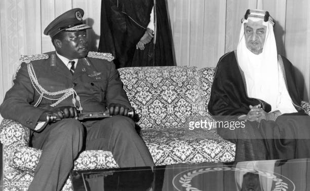President of Uganda Idi Amin Dada meets the Saudi King Faisal ibn Abd alAziz in July 1972 in Riyadh during his Omra pilgrimage His reign of terror...