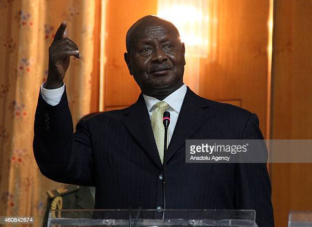 President of Uganda Yoweri Museveni and Prime Minister of Ethiopia Hailemariam Desalegn hold a joint press conference at Governmental building in the...