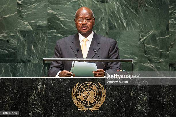 President of Uganda Yoweri Museveni speaks at the 69th United Nations General Assembly at United Nations Headquarters on September 24 2014 in New...