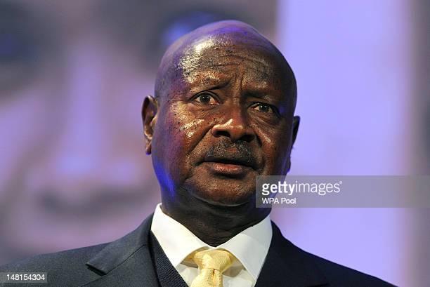 President of Uganda Yoweri Museveni speaks during the London Summit on Family Planning on July 11 2012 in London England The London Summit on Family...