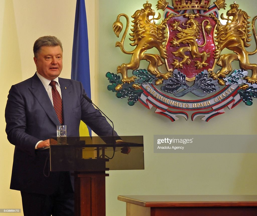 President of Ukraine, Petro Poroshenko and President of Bulgaria, Rosen Plevneliev (not seen) hold a joint press conference following their meeting, in Sofia, Bulgaria on June 30, 2016.