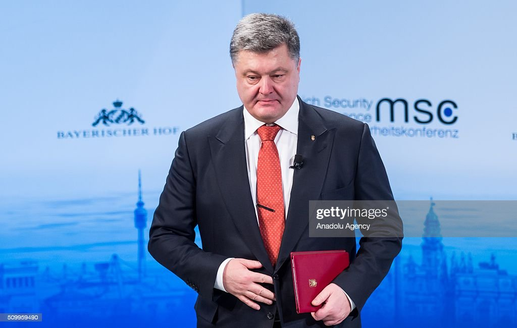 President of Ukraine Petro Poroshenko attends at the 2016 Munich Security Conference at the Bayerischer Hof hotel on February 13, 2016 in Munich, Germany. The annual event brings together government representatives and security experts from across the globe and this year the conflict in Syria will be the main issue under discussion.