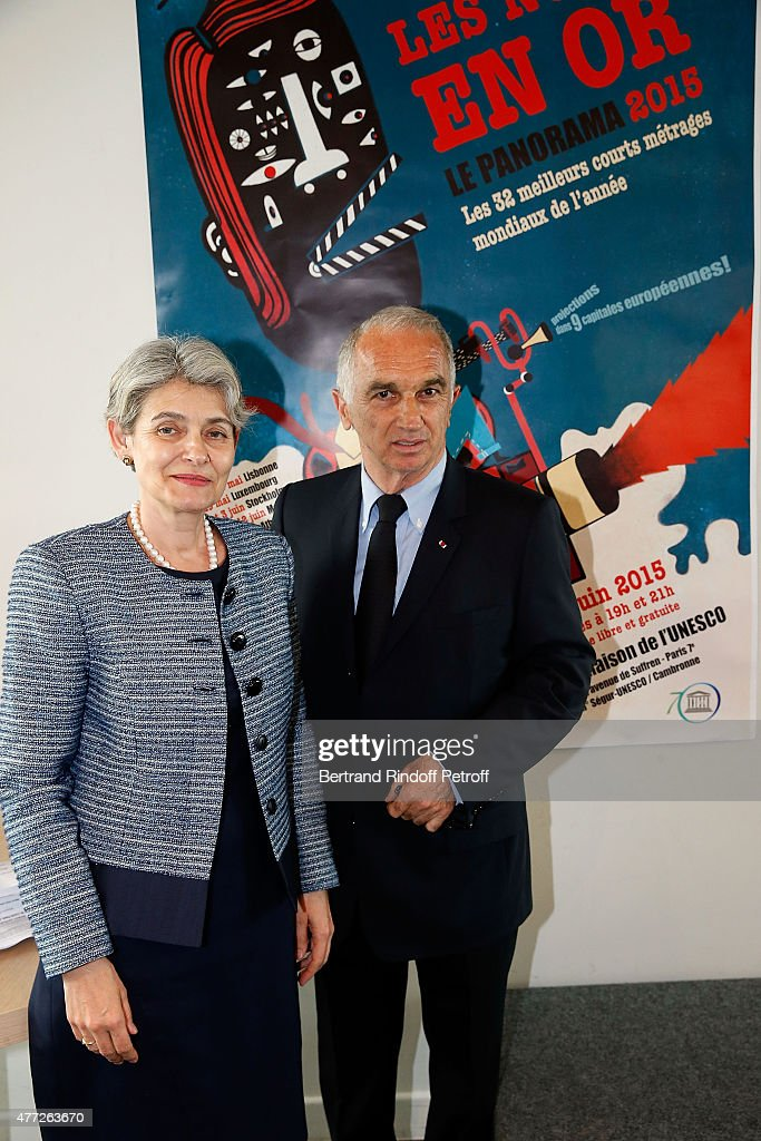 President of UNESCO and President of Academy des Cesars <a gi-track='captionPersonalityLinkClicked' href=/galleries/search?phrase=Alain+Terzian&family=editorial&specificpeople=2455092 ng-click='$event.stopPropagation()'>Alain Terzian</a> attend 'Les Nuits En Or 2015' Dinner at UNESCO on June 15, 2015 in Paris, France.