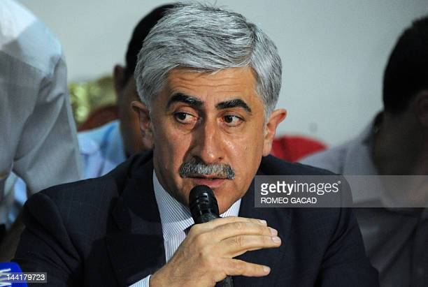 President of United Aircraft Corporation Mikhail Pogosyan addresses a press conference with Indonesian officials after meeting relatives of victims...