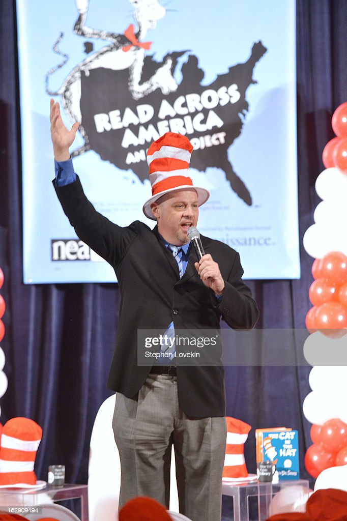President of United Federation of Teachers, Michael Mulgrew Joins Cat In The Hat On NEA's Read Across America Day at New York Public Library on March 1, 2013 in New York City.