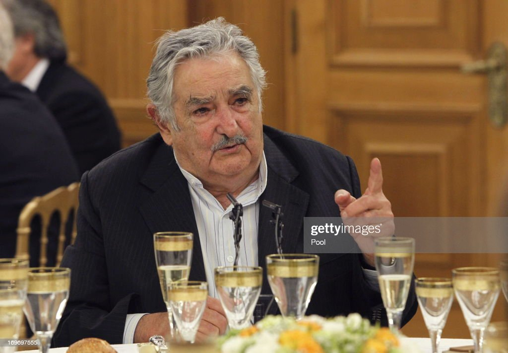 President of Uruguay <a gi-track='captionPersonalityLinkClicked' href=/galleries/search?phrase=Jose+Mujica&family=editorial&specificpeople=637688 ng-click='$event.stopPropagation()'>Jose Mujica</a> attends a dinner hosted by King Juan Carlos I of Spain (not pictured) at Zarzuela Palace on May 29, 2013 in Madrid, Spain. Uruguay's President <a gi-track='captionPersonalityLinkClicked' href=/galleries/search?phrase=Jose+Mujica&family=editorial&specificpeople=637688 ng-click='$event.stopPropagation()'>Jose Mujica</a> is visiting Spain as part of an official tour to China, Spain, Italy and Vatican.