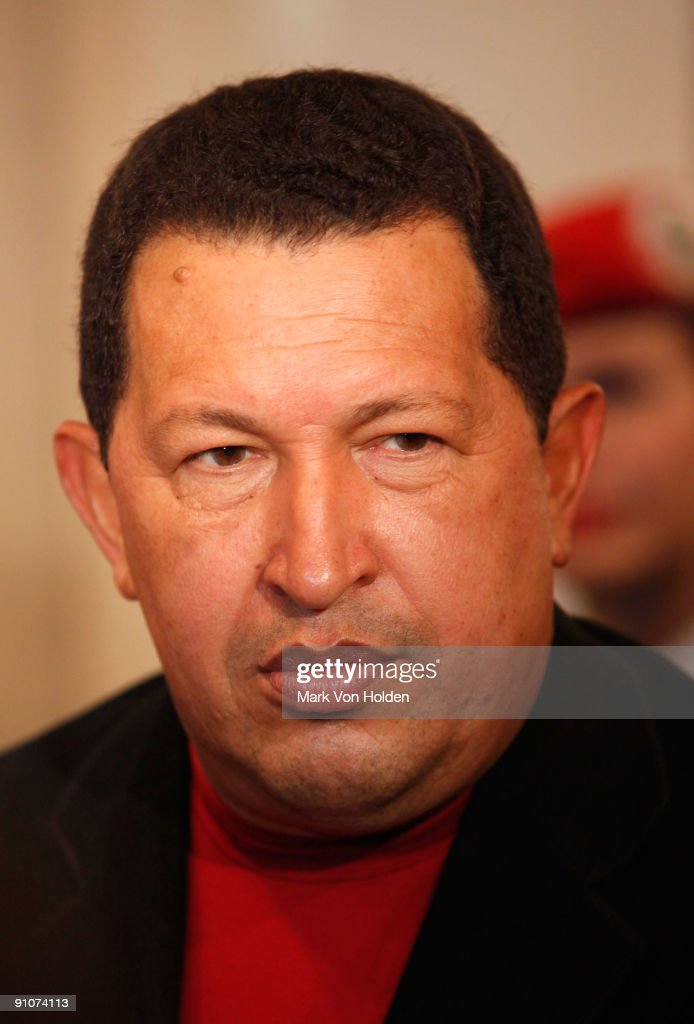 President of Venezuela, <a gi-track='captionPersonalityLinkClicked' href=/galleries/search?phrase=Hugo+Chavez&family=editorial&specificpeople=171094 ng-click='$event.stopPropagation()'>Hugo Chavez</a> attend the 'South of the Border' premiere at the Walter Reade Theater on September 23, 2009 in New York City.