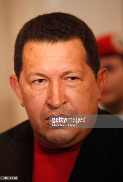 President of Venezuela Hugo Chavez attend the 'South of the Border' premiere at the Walter Reade Theater on September 23 2009 in New York City