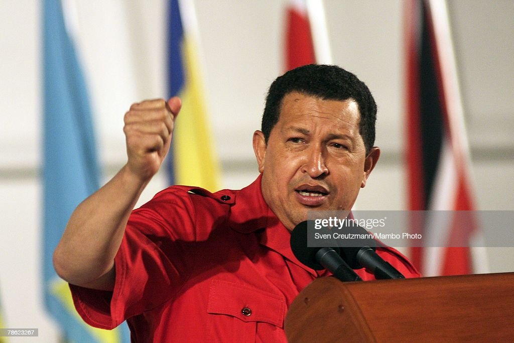 President of Venezuela Hugo Chavez gives a speech during the closing session of the 4th PetroCaribe Summit in the Camilo Cienfuegos refinery December 21, 2007 in Cienfuegos, Cuba. The Heads of State and Government of the 16 member nations of the Energy Cooperation Agreement are expected to participate in the debates and the re-inauguration of the first stage of the Camilo Cienfuegos Oil Refinery that was refurbished by Venezuelan state oil company PDVSA.