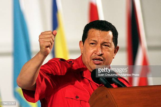 President of Venezuela Hugo Chavez gives a speech during the closing session of the 4th PetroCaribe Summit in the Camilo Cienfuegos refinery December...