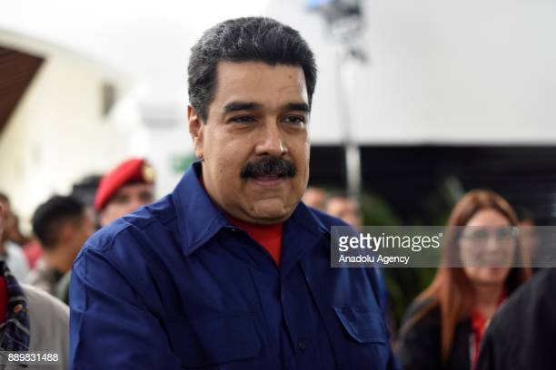 President of Venezuela Nicolas Maduro is seen after casting his vote at a polling station during municipal election in Caracas Venezuela on December...