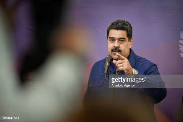 President of Venezuela Nicolas Maduro makes a speech during a press conference after casting his vote for municipal election at a polling station in...