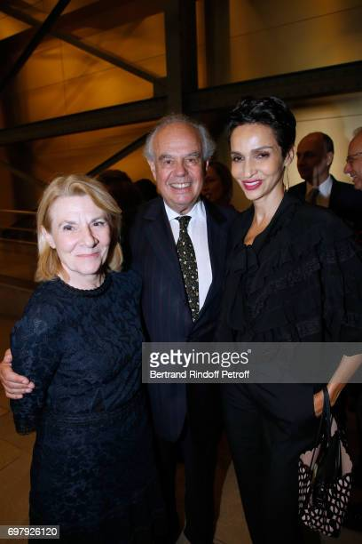 President of Versailles Castle Catherine Pegard Frederic Mitterrand and Farida Khelfa Seydoux attend the 'Societe ses Amis du Musee d'Orsay' Dinner...