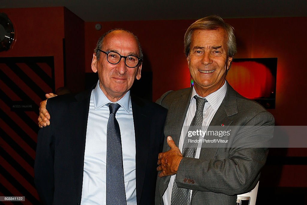 President of Vivendi <a gi-track='captionPersonalityLinkClicked' href=/galleries/search?phrase=Vincent+Bollore&family=editorial&specificpeople=546429 ng-click='$event.stopPropagation()'>Vincent Bollore</a> (R) attends the Laurent Gerra One Man Show at L'Olympia on December 19, 2015 in Paris, France.