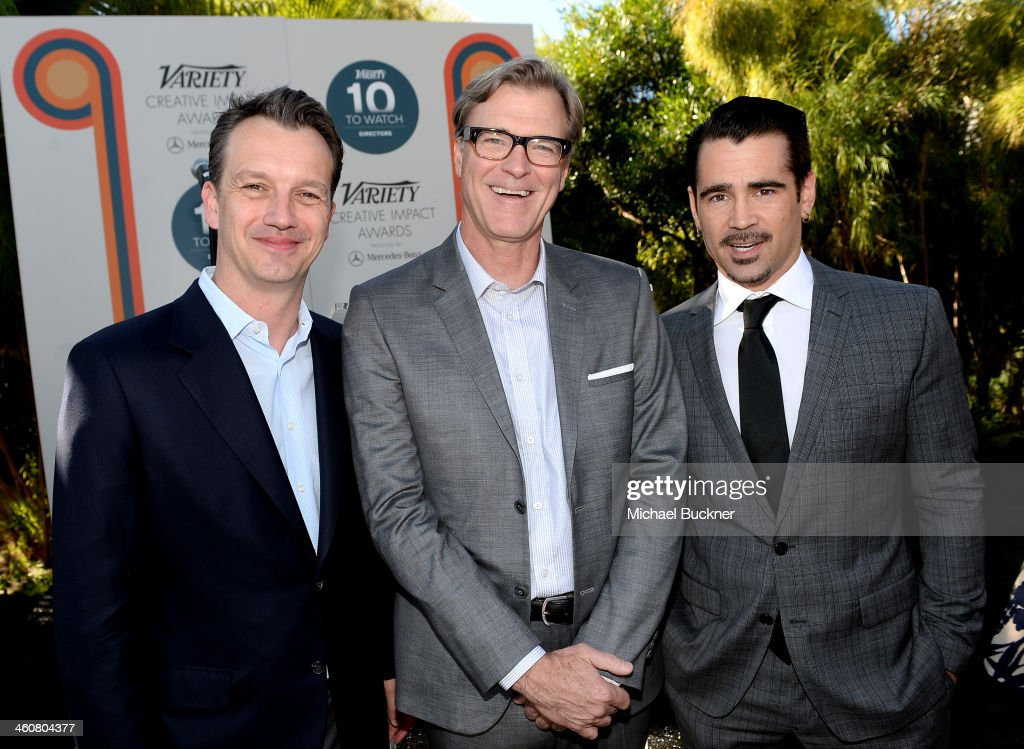 President of Walt Disney Studios Motion Picture Production, Sean Bailey, writer <a gi-track='captionPersonalityLinkClicked' href=/galleries/search?phrase=John+Lee+Hancock+-+Film+Director&family=editorial&specificpeople=3063427 ng-click='$event.stopPropagation()'>John Lee Hancock</a> and actor <a gi-track='captionPersonalityLinkClicked' href=/galleries/search?phrase=Colin+Farrell&family=editorial&specificpeople=202154 ng-click='$event.stopPropagation()'>Colin Farrell</a> attend Variety's Creative Impact Awards and 10 Directors to Watch brunch presented by Mercedes-Benz at The 25th Annual Palm Springs International Film Festival at Parker Palm Springs on January 5, 2014 in Palm Springs, California.