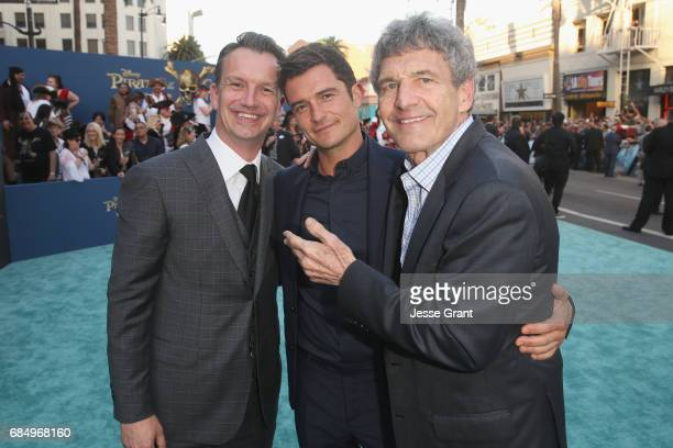 President of Walt Disney Studios Motion Picture Production Sean Bailey Actor Orlando Bloom and Chairman The Walt Disney Studios Alan Horn at the...