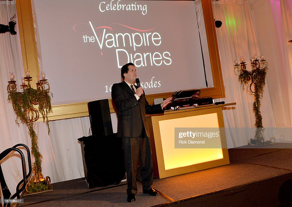 President of Warner Bros. Television <a gi-track='captionPersonalityLinkClicked' href=/galleries/search?phrase=Peter+Roth&family=editorial&specificpeople=239477 ng-click='$event.stopPropagation()'>Peter Roth</a> speaks at The Vampire Diaries 100th Episode Celebration on November 9, 2013 in Atlanta, Georgia.