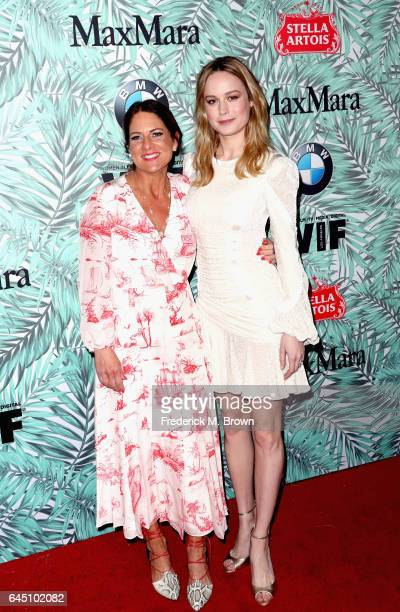 President of Women in Film Cathy Schulman and actor Brie Larson attend the 10th annual Women in Film PreOscar Cocktail Party at Nightingale Plaza on...