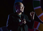 President of World Bank Jim Yong Kim MD PhD presents onstage at the 2015 Global Citizen Festival to end extreme poverty by 2030 in Central Park on...