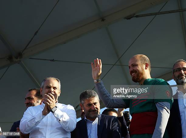President of World Ethnosports Confederation Bilal Erdogan and Youth and Sports Minister Akif Cagatay Kilic greet the attenders during the 2nd day of...