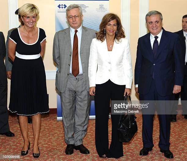 President of Young Entrepreneurs of Confindustria Federica Guidi Minister of Economy Giulio Tremonti President of Confindustria Emma Marcegaglia and...