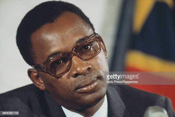 President of Zaire Mobutu Sese Seko pictured attending a presidential press conference on 5th April 1971