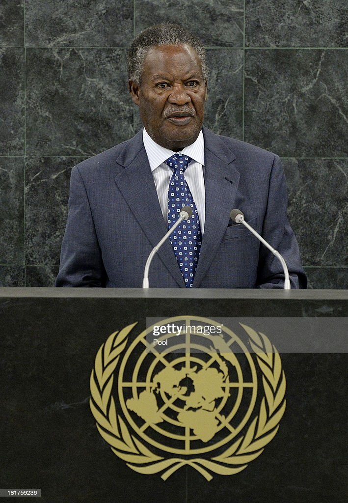 President of Zambia Michael Chilufya Sata speaks during the U.N. General Assembly on September 24, 2013 in New York City. Over 120 prime ministers, presidents and monarchs are gathering this week for the annual meeting at the temporary General Assembly Hall at the U.N. headquarters while the General Assembly Building is closed for renovations.