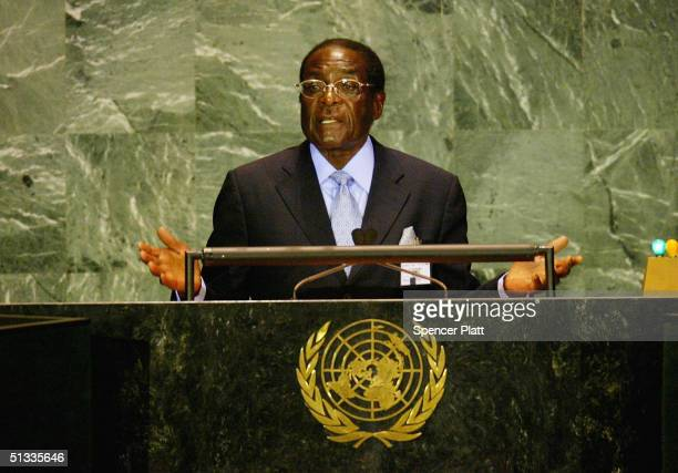 President of Zimbabwe Robert G Mugabe addresses the United Nations General Assembly September 22 2004 in New York City Dignitaries from around the...