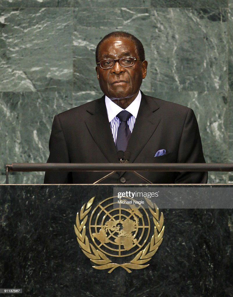 President of Zimbabwe <a gi-track='captionPersonalityLinkClicked' href=/galleries/search?phrase=Robert+Mugabe&family=editorial&specificpeople=214676 ng-click='$event.stopPropagation()'>Robert Mugabe</a> addresses the United Nations General Assembly at the UN headquarters on September 25, 2009 in New York City. The United Nations General Assembly is meeting for their 64th session featuring leaders from over 120 countries.