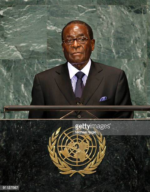 President of Zimbabwe Robert Mugabe addresses the United Nations General Assembly at the UN headquarters on September 25 2009 in New York City The...