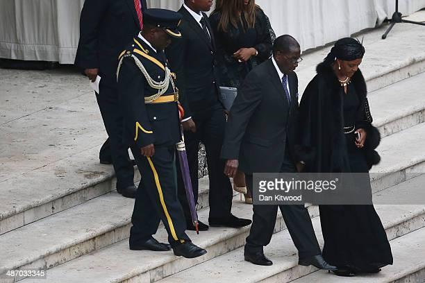 President of Zimbabwe Robert Mugabe and his wife Grace Mugabe attend the canonisation mass of Popes John XXIII and John Paul II on St Peter's on...