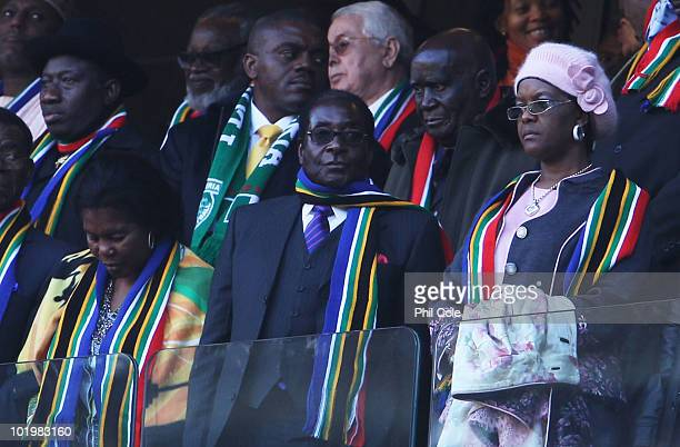 President of Zimbabwe Robert Mugabe attends the 2010 FIFA World Cup South Africa Group A match between South Africa and Mexico at Soccer City Stadium...