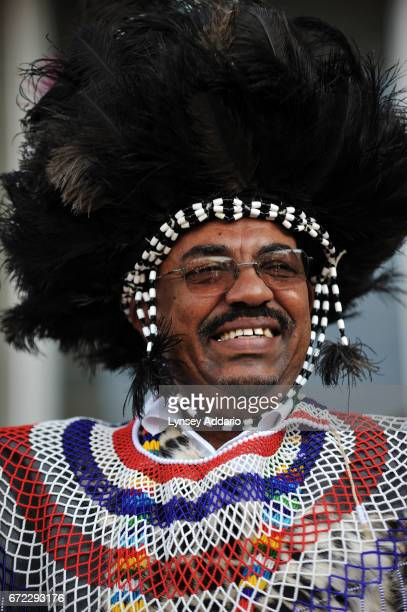 President Omar alBashir holds a rally with Southern Sudanese villagers and dignitaries in celebration of President Bashir in Khartoum Sudan March 7...
