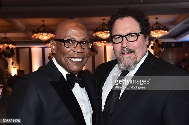 President Paris Barclay and director Jon Favreau attend the 68th Annual Directors Guild Of America Awards at the Hyatt Regency Century Plaza on...