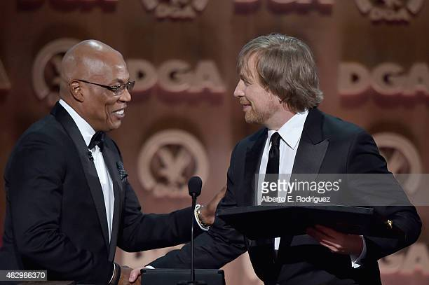 President Paris Barclay and director Morten Tyldum winner of the Feature Film Nomination Plaque for 'The Imitation Game' speak onstage at the 67th...