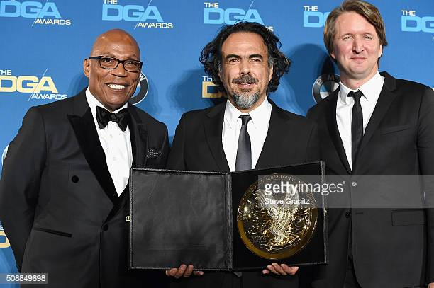 DGA president Paris Barclay director Alejandro G Iñárritu and director Tom Hooper pose in the press room during the 68th Annual Directors Guild Of...