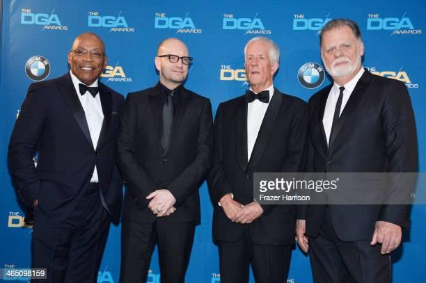 DGA President Paris Barclay director Steven Soderbergh recipient of the Robert B Aldrich Service Award former DGA President Michael Apted and former...