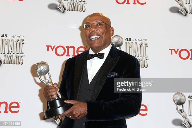President Paris Barclay NAACP Hall of Fame honoree poses in the press room during the 45th NAACP Image Awards presented by TV One at Pasadena Civic...