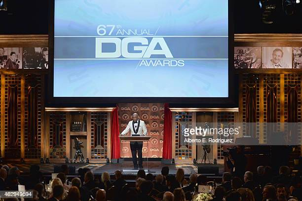President Paris Barclay speaks onstage at the 67th Annual Directors Guild Of America Awards at the Hyatt Regency Century Plaza on February 7 2015 in...