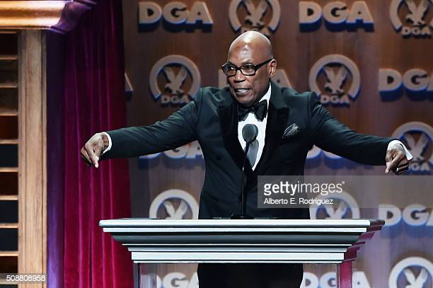 President Paris Barclay speaks onstage at the 68th Annual Directors Guild Of America Awards at the Hyatt Regency Century Plaza on February 6 2016 in...