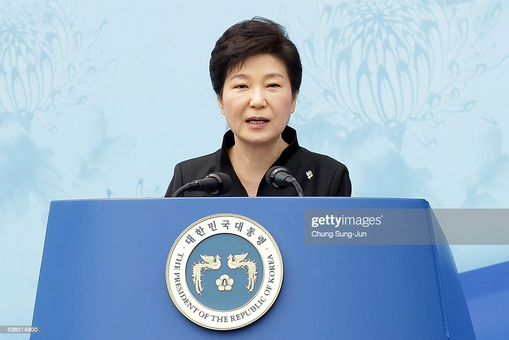 President Park Geun-Hye of South Korea speaks during a ceremony marking Korean Memorial Day at the Seoul National cemetery on June 6, 2016 in Seoul, South Korea. South Korea marks the 61th anniversary of the Memorial Day for people who died during the military service in the 1950-53 Korean War.