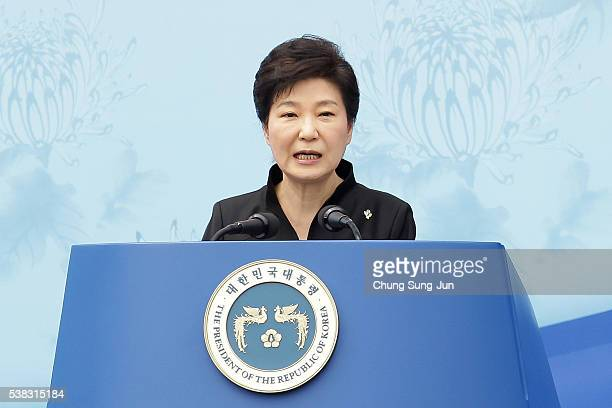 President Park GeunHye of South Korea speaks during a ceremony marking Korean Memorial Day at the Seoul National cemetery on June 6 2016 in Seoul...
