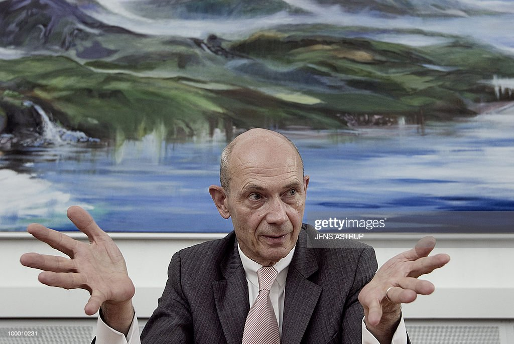 WTO President Pascal Lamy gesticulates during a press conference at the Danish Parliament in Copenhagen on May 20, 2010. Lamy is in Denmark to speak at the Nordic Globalisation Forum. AFP PHOTO/SCANPIX/Jens Astrup