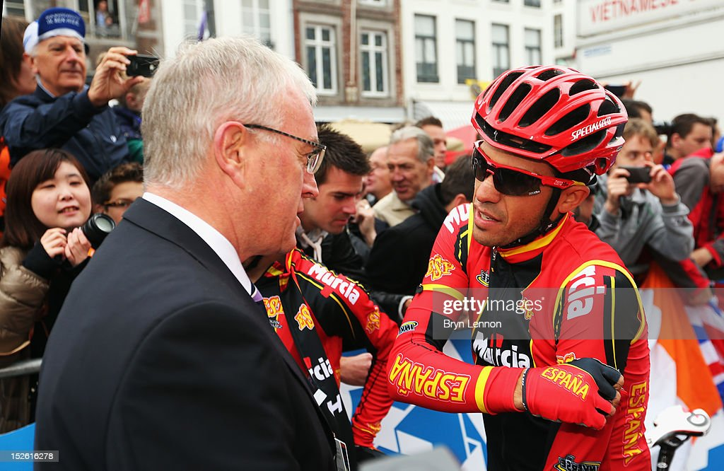 UCI President Pat McQuaid (l) chats to Alberto Contador of Spain at the start of the Men's Elite Road Race on day eight of the UCI Road World Championships on September 23, 2012 in Maastricht, Netherlands.