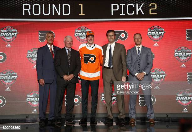 President Paul Holmgren SVP Bobby Clarke Nolan Patrick second overall pick of the Philadelphia Flyers executive VP Ron Hextall and assistant GM and...