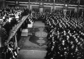 President Paul von Hindenburg in the unoccupied Mainz Stadhalle July 21th 1930 Photograph Reichspräsident Paul von Hindenburg im unbesetzten Mainz...