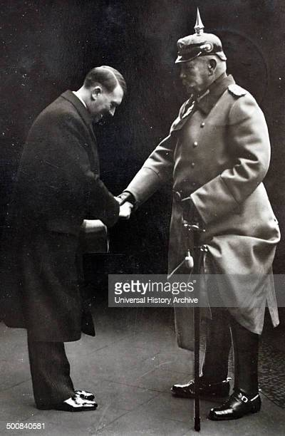 President Paul Von Hindenburg with Chancellor Adolf Hitler in 1933 Hindenburg was a PrussianGerman field marshal statesman and politician and served...