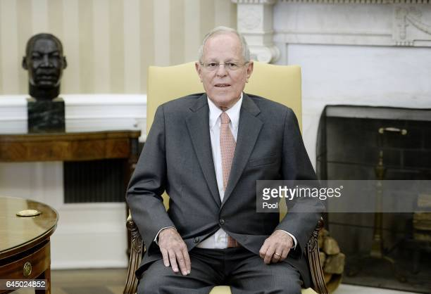 President Pedro Pablo Kuczynski of Peru looks on during a meeting with US President Donald Trump in the Oval Office of the White House on February 24...