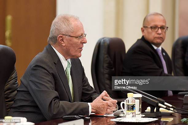 President Pedro Pablo Kuczynski speaks during his meeting with Chinese Premier Li Keqiang at the Great Hall of the People on September 14 2016 in...