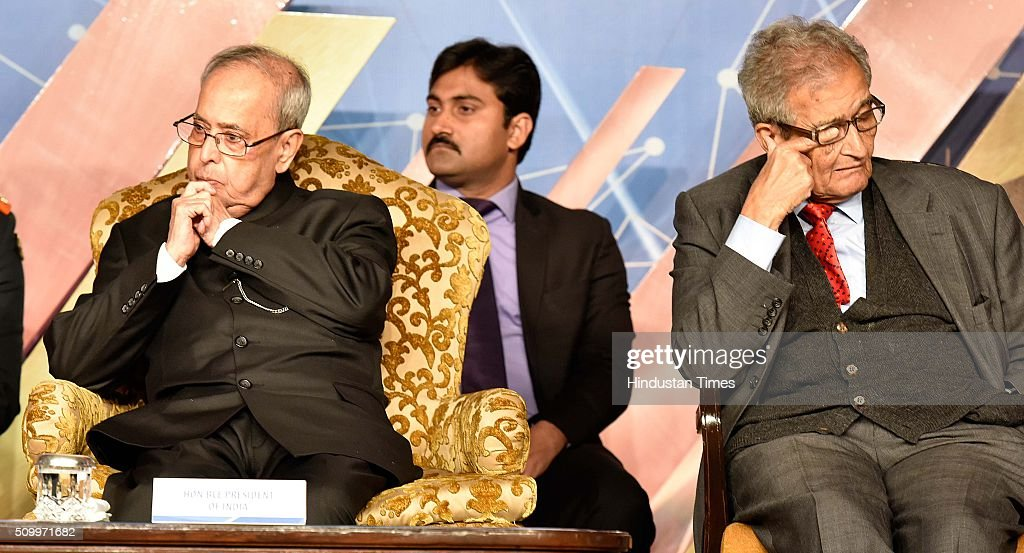 President Pranab Mukherjee along with Amartya Sen, Economist, during the Infosys Award 2015 organized by infosys Science Foundation at Taj Place on February 13, 2016 in New Delhi, India. President felicitated six winners of Infosys Science Foundation Prizes 2015 for their outstanding contribution in their fields. President awarded each laureate with a purse of Rs.65 lakh, a 22-carat gold medallion and a citation certificate.